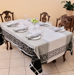 Marius Black Jacquard French Tablecloth 160x250cm 8seats Made in France