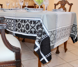 Marius Black Jacquard French Tablecloth 160x300cm 10seats Made in France
