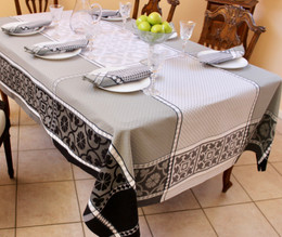 Marius Black160x350cm 12Seats Jacquard French Tablecloth Made in France