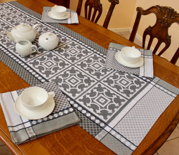 Marius Black 50x166cm French Jacquard Table Runner Made in France