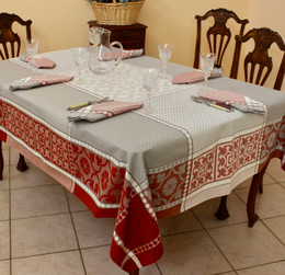 Marius Rust Jacquard FrenchTablecloth 160x200cm  6seats Made in France