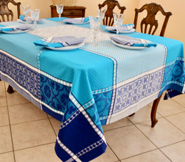 Marius Blue Jacquard French Tablecloth 160x250cm 8seats Made in France