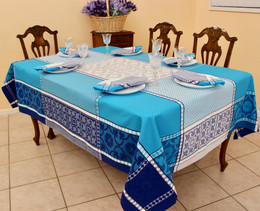 Marius Blue Jacquard French Tablecloth 160x300cm 10seats Made in France