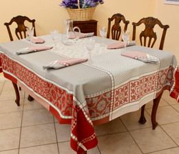 Marius Rust Jacquard French Tablecloth 160x300cm 10seats Made in France