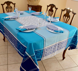 Marius Blue 160x350cm 12Seats Jacquard French Tablecloth Made in France