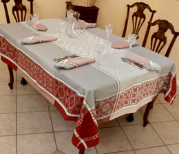 Marius Rust160x350cm 12Seats Jacquard French Tablecloth Made in France