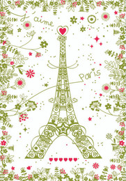 Paris fleuri vert Tea Towel Made in France