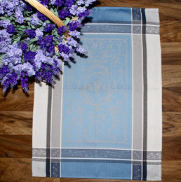 Versailles Blue Jacquard TeaTowel Made in France