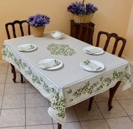 Nyons Ecru French Tablecloth 155x300cm 10Seats  Made in France