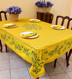 Nyons Yellow French Tablecloth 155x300cm 10Seats COATED Made in France