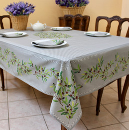 Nyons Grey French Tablecloth 155x300cm 10Seats COATED Made in France
