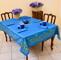 Nyons Blue 155x350cm 12seats COATED French Tablecloth Made in France