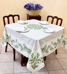 Nyons Ecru Square Tablecloth 150x150cm Made in France