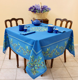 Nyons Blue Square Tablecloth 150x150cm Made in France
