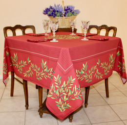 Nyons Red Square Tablecloth 150x150cm Made in France