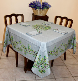 Nyons Grey Square Tablecloth 150x150cm Made in France