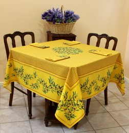 Nyons Yellow Square Tablecloth 150x150cm COATED Made in France