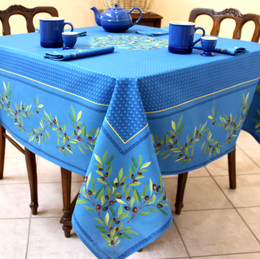 Nyons Blue Square Tablecloth 150x150cm COATED Made in France