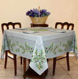 Nyons Grey Square Tablecloth 150x150cm COATED Made in France
