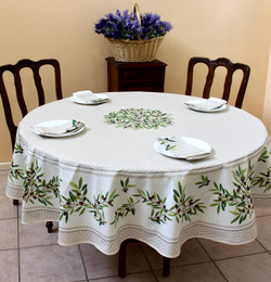 Nyons Ecru French Tablecloth Round 180cm Made in France