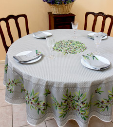 Nyons Grey French Tablecloth Round 180cm Made in France