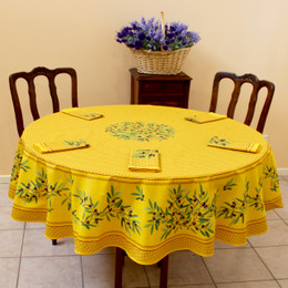 Nyons Yellow French Tablecloth Round 180cm COATED Made in France