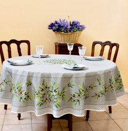 Nyons Grey French Tablecloth Round 180cm COATED Made in France