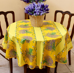 Lavender Yellow French Tablecloth Round150cm diameter COATED Made in France