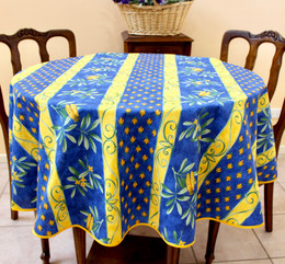 Cicada French Tablecloth Round150cm diameter COATED Made in France
