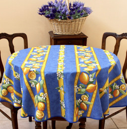 Lemon Blue French Tablecloth Round150cm diameter COATED Made in France