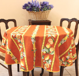 Lemon Orange French Tablecloth Round150cm diameter COATED Made in France