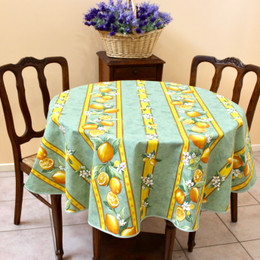 Lemon Green French Tablecloth Round150cm diameter COATED Made in France