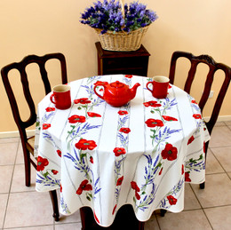 Poppy Ecru French Tablecloth Round150cm diameter COATED Made in France