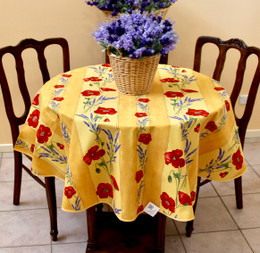 Poppy Yellow French Tablecloth Round150cm diameter COATED Made in France
