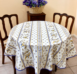 Moustiers Blue French Tablecloth Round150cm diameter COATED Made in France