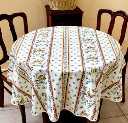 Moustiers RedFrench Tablecloth Round150cm diameter COATED Made in France