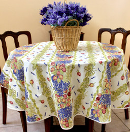 Lavender & Roses French Tablecloth Round150cm diameter COATED Made in France