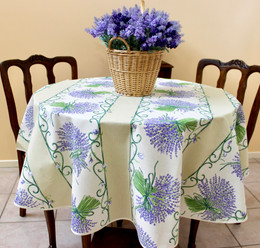 Lavender Ecru French Tablecloth Round 150cm diameter Made in France