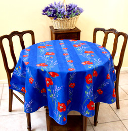 Poppy Blue French Tablecloth Round 150cm diameter Made in France