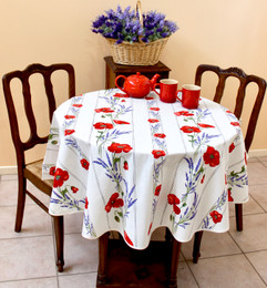 Poppy Ecru French Tablecloth Round 150cm diameter Made in France