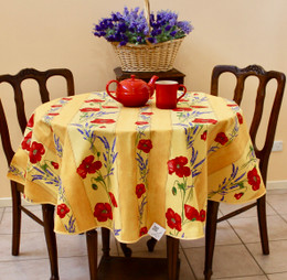 Poppy Yellow French Tablecloth Round 150cm diameter Made in France
