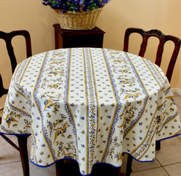 Moustiers Blue French Tablecloth Round 150cm diameter Made in France