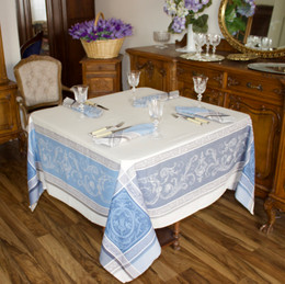 Versailles Blue 160x160cm SquareJacquard French Tablecloth Made in France