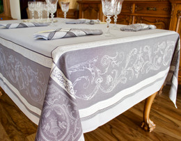 Versailles Pearl 160x160cm SquareJacquard French Tablecloth Made in France