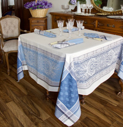 Vaucluse Blue 160x160cm SquareJacquard French Tablecloth Made in France