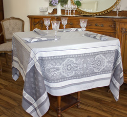 Vaucluse  Pearl 160x160cm SquareJacquard French Tablecloth Made in France
