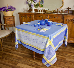 Olivia Blue 160x160cm SquareJacquard French Tablecloth Made in France
