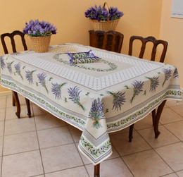 Lauris Ecru French Tablecloth 155x300cm 10Seats COATED Made in France