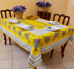 Lauris Yellow French Tablecloth 155x300cm 10Seats COATED Made in France