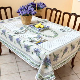 Lauris Ecru French Tablecloth 155x200cm 6 Seats Made in France